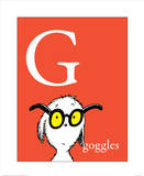 G is for Goggles (red) Print by Theodor (Dr. Seuss) Geisel