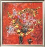 Fleurs Sur Fond Rouge, c.1970 Art by Marc Chagall