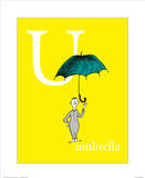 U is for Umbrella (yellow) Prints by Theodor (Dr. Seuss) Geisel