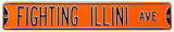 Fighting Illini Ave Illinois Orange Steel Sign Wall Sign