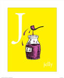 j is for jelly (yellow) Prints by Theodor (Dr. Seuss) Geisel