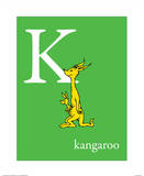 K is for Kangaroo (green) Poster by Theodor (Dr. Seuss) Geisel
