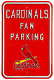 Cardinals Fan Parking with Logo Steel Sign Wall Sign