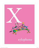 X is for Xylophone (pink) Prints by Theodor (Dr. Seuss) Geisel