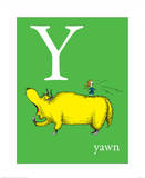 Y is for Yawn (green) Art by Theodor (Dr. Seuss) Geisel