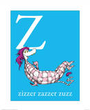 Z is for Zizzer Zazzer Zuzz (blue) Prints by Theodor (Dr. Seuss) Geisel