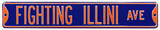 Fighting Illini Ave Navy Steel Sign Wall Sign