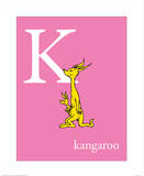 K is for Kangaroo (pink) Prints by Theodor (Dr. Seuss) Geisel