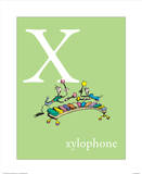 X is for Xylophone (green) Prints by Theodor (Dr. Seuss) Geisel