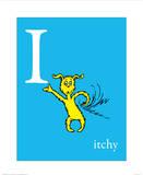I steht für Jucken (blau), Englisch Kunst von Theodor (Dr. Seuss) Geisel