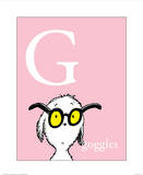 G is for Goggles (pink) Prints by Theodor (Dr. Seuss) Geisel