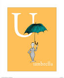 U is for Umbrella (orange) Posters by Theodor (Dr. Seuss) Geisel