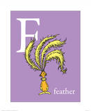 F is for Feather (purple) Prints by Theodor (Dr. Seuss) Geisel