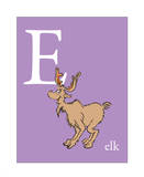 E is for Elk (purple) Prints by Theodor (Dr. Seuss) Geisel