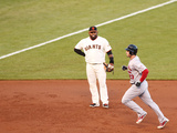 San Francisco, CA - October 14: San Francisco Giants v Cardinals - David Freese and Pablo Sandoval Photographic Print by Christian Petersen