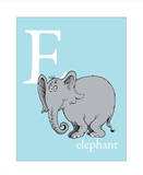 E is for Elephant (blue) Art by Theodor (Dr. Seuss) Geisel
