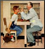 """At the Optometrist"" or ""Eye Doctor"", May 19,1956 Mounted Print by Norman Rockwell"