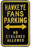 Hawkeye No Cyclones Parking Steel Sign Wall Sign