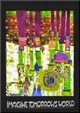 Imagine Tomoorrow's World (Green) Mounted Print by Friedensreich Hundertwasser