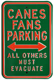 Canes Must Evacuate Parking Steel Sign Wall Sign