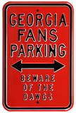 Georgia Beware Dawgs Parking Steel Sign Wall Sign