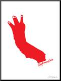 California Love (red on white) Mounted Print by  Ashkahn