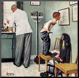 """Before the Shot"" or ""At the Doctor's"", March 15,1958 Mounted Print by Norman Rockwell"