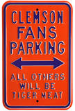 Clemson Tiger Meat Parking Steel Sign Wall Sign