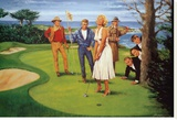 Putting For Birdie Stretched Canvas Print by Clement Micarelli