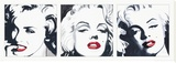 Marilyn Triptych Stretched Canvas Print by Irene Celic