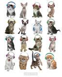 Keith Kimberlin-Kittens Headphones Póster