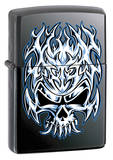 Flaming Chrome Skull - Licorice  Zippo Lighter Lighter
