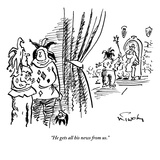 """He gets all his news from us."" - New Yorker Cartoon Regular Giclee Print by Mike Twohy"