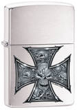 CT Skull Cross - Brush Chrome Zippo Lighter Lighter