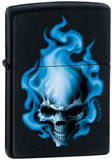 CT Blue Flame Skull - Black Matte Zippo Lighter Lighter