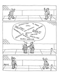 Three panels. First: Two businessmen greet each other on the street. Secon… - New Yorker Cartoon Premium Giclee Print by Jack Ziegler