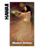 Hawaii Western Airlines Hula Dancer c.1960s Giclée-tryk