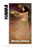 Hawaii Western Airlines Hula Dancer c.1960s Poster