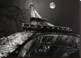 Tour Eiffel, Pleine Lune Stretched Canvas Print by Antoine Carrara
