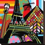 Paris Pop Stretched Canvas Print by  Lobo