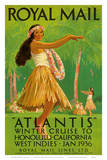 "Hawaii Hula, Royal Mail ""Atlantis"" c.1936 Posters by Percy Padden"