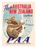 Fly to Australia and New Zealand c.1950s Wydruk giclee