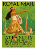 "Hawaii Hula, Royal Mail ""Atlantis"" c.1936 Plakater af Percy Padden"