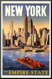 New York - The Empire State Reprodukce aplikovaná na dřevěnou desku