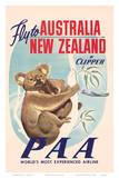 Fly to Australia and New Zealand c.1950s Plakaty
