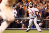 San Francisco, CA - Oct. 22: Giants v Cardinals - Jason Motte and Gregor Blanco Photographic Print by Christian Petersen