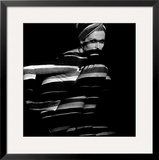 Horizontal Stripe Projection on Model, 1960s Framed Giclee Print by John French