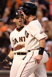 San Francisco, CA - Oct. 22: Giants v Cardinals - Marco Scutaro, Buster Posey and Hunter Pence Photographic Print by Christian Petersen
