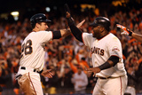 San Francisco, CA - Oct. 22: Giants v Cardinals - Buster Posey, Pablo Sandoval and Hunter Pence Photographic Print by Ezra Shaw