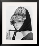 Nicole de la Marge in an Otto Lucas Jersey Scarf over an Ocelot Hat, 1964 Framed Giclee Print by John French